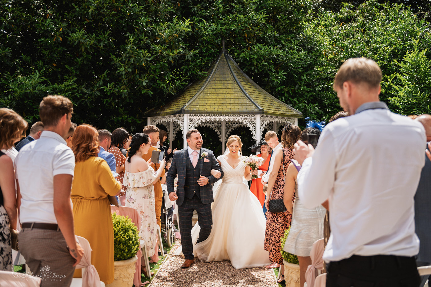 Outdoor civil wedding ceremony at Pendrell Hall in Staffordshire