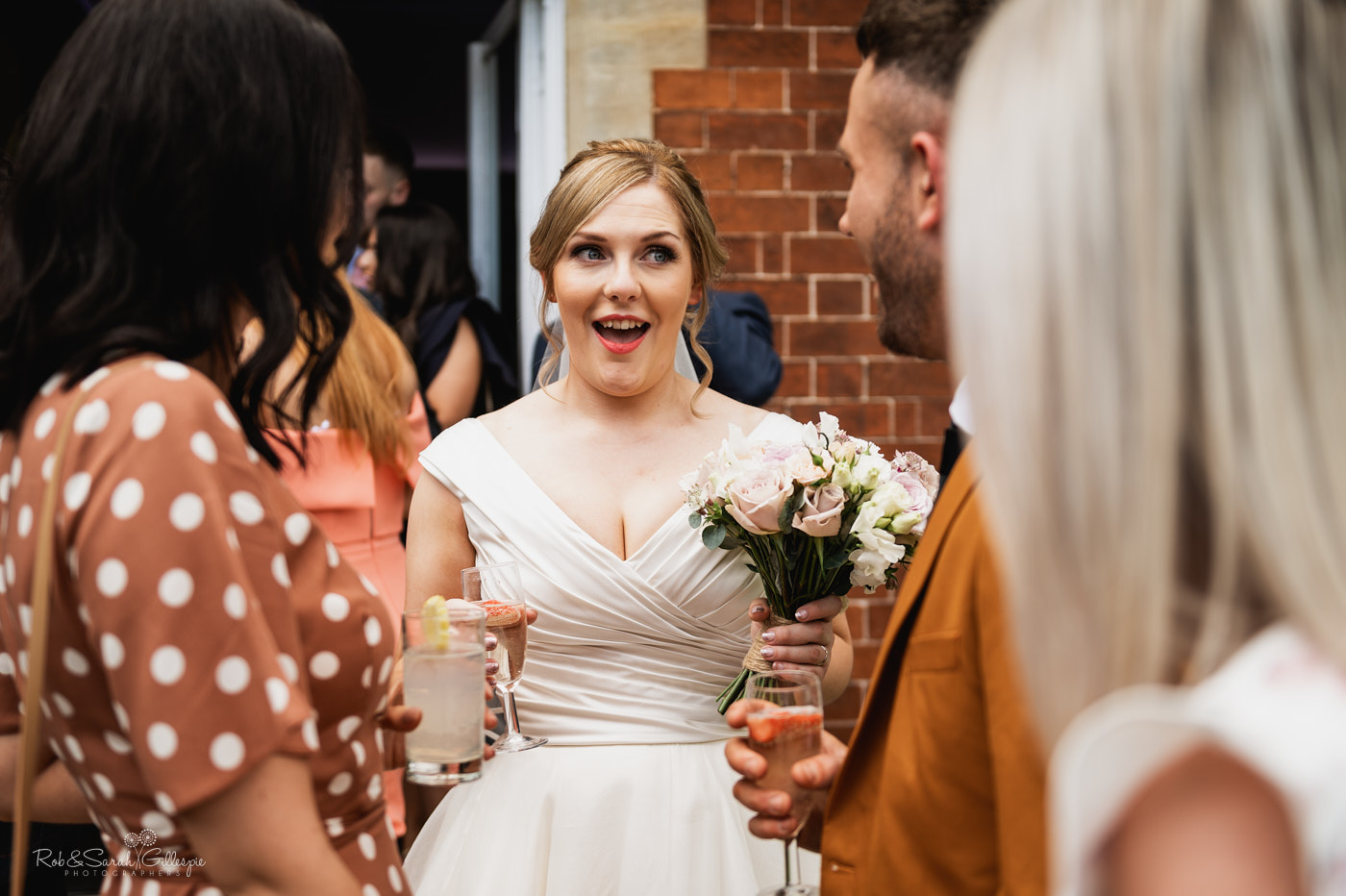 Bride and groom mingle with guests at Pendrell Hall wedding