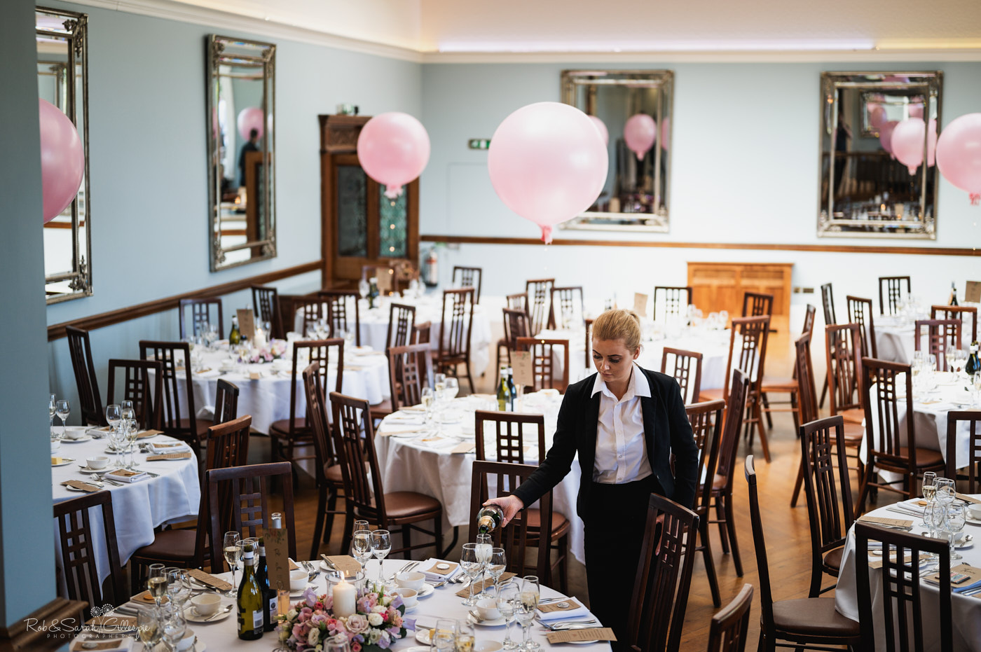 Wedding breakfast ballroom at Pendrell Hall