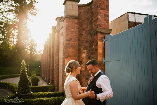 Couple relaxed at Pendrell Hall in evening light