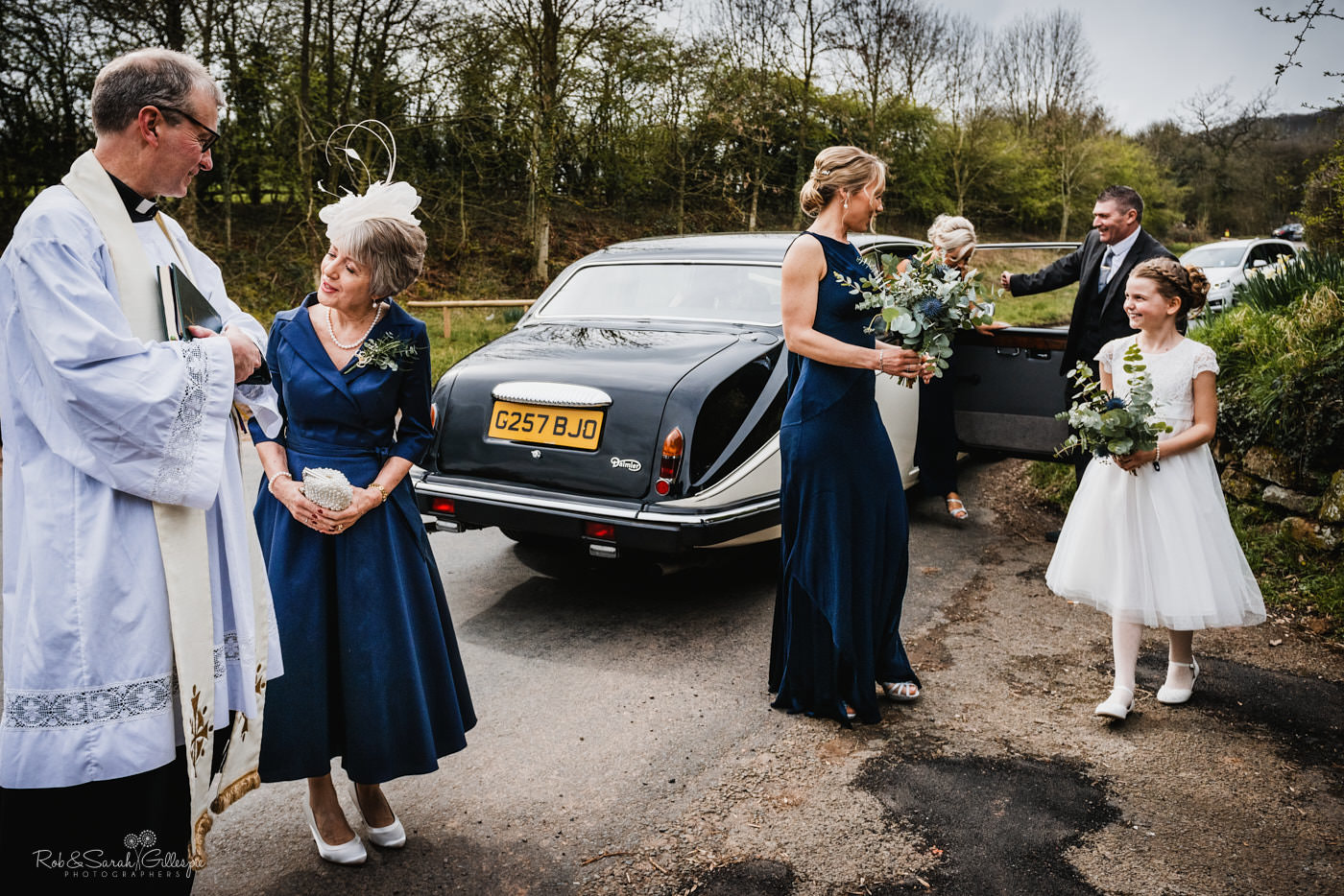 Bridal cars arrive for wedding at St Kenelm's church in Worcestershire