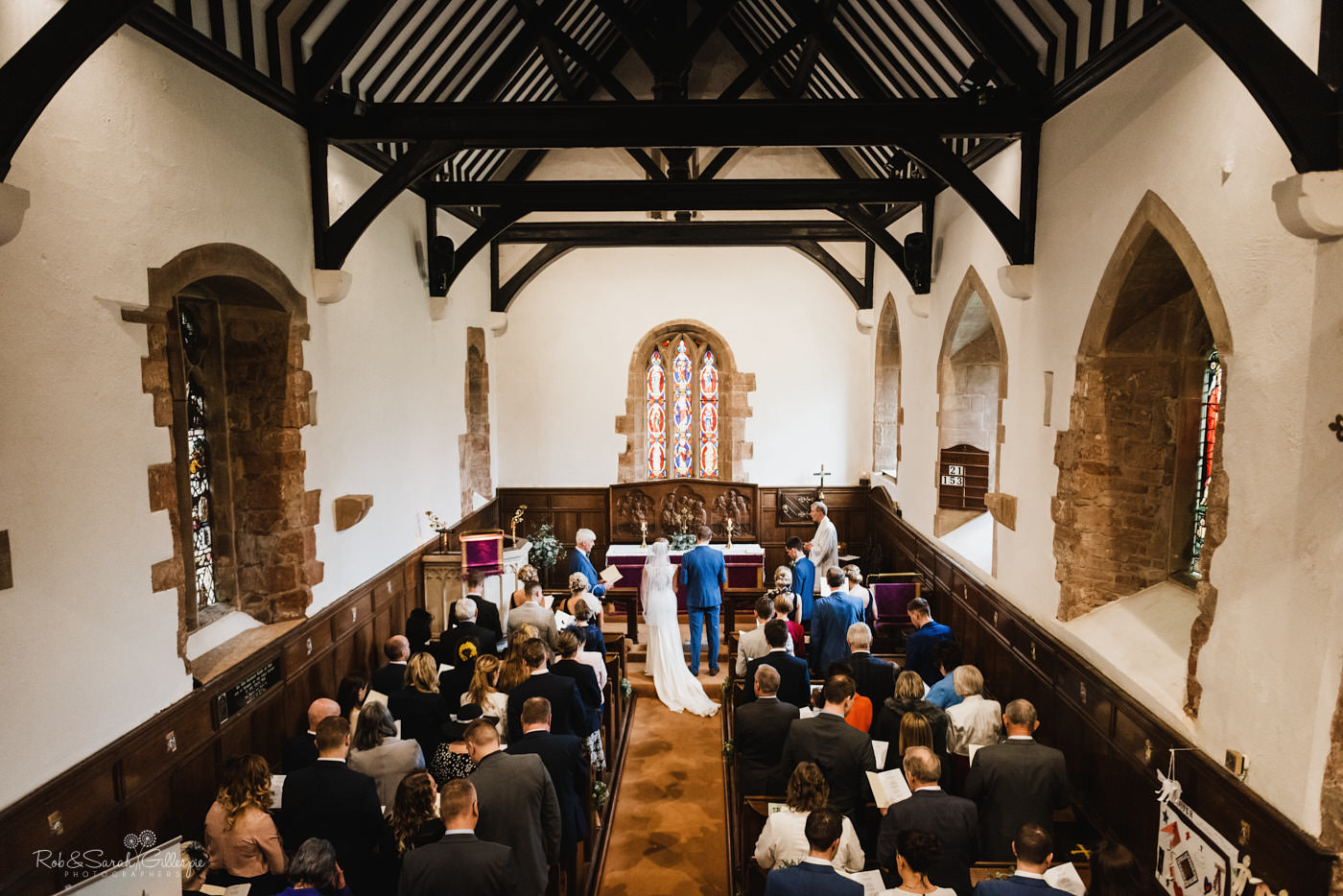 Wedding service at St Kenelm's church in Worcestershire