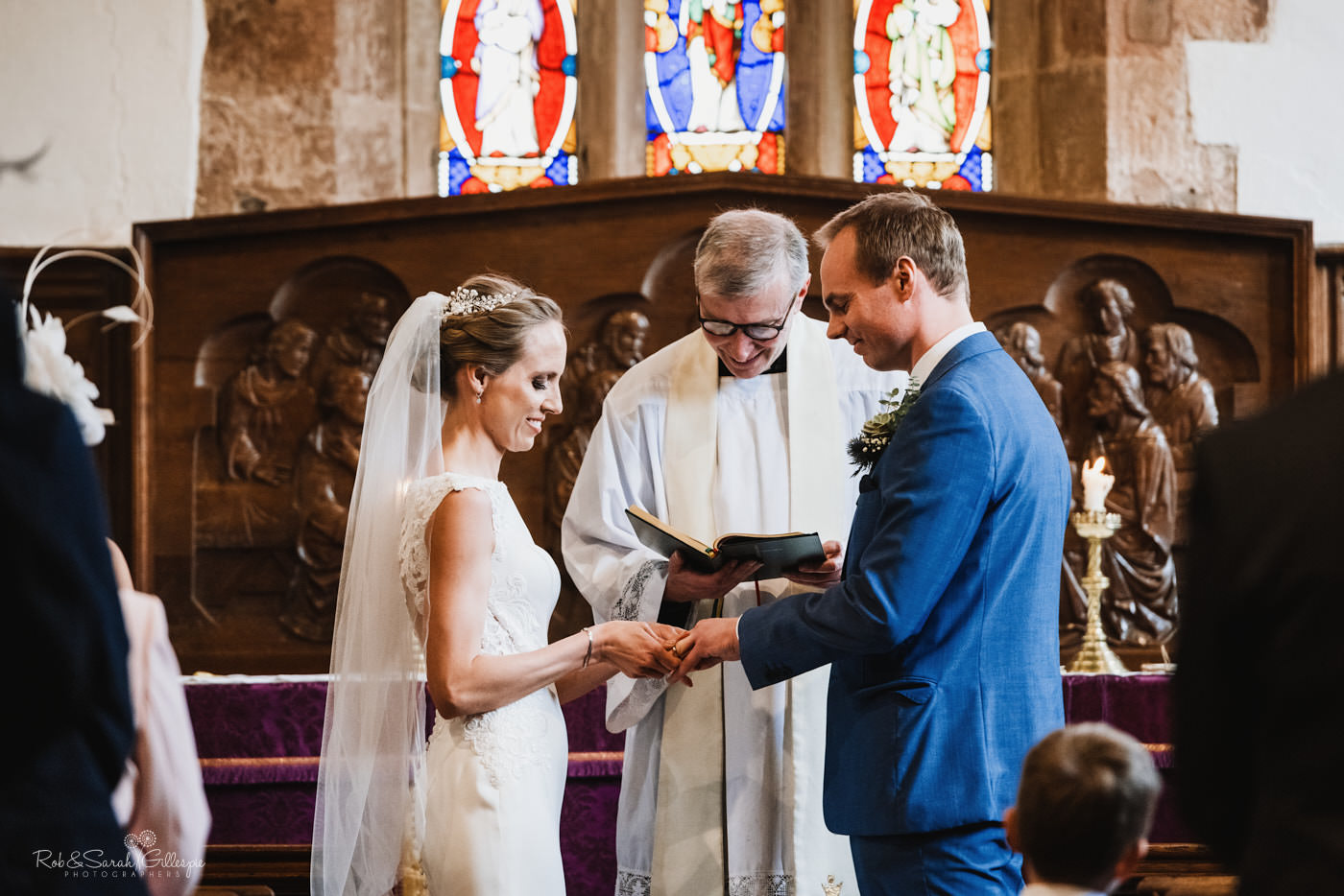 Wedding service at St Kenelm's church in Romsley, Worcestershire