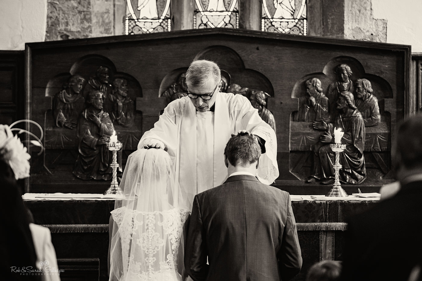 Wedding blessing at St Kenelm's church in Worcestershire