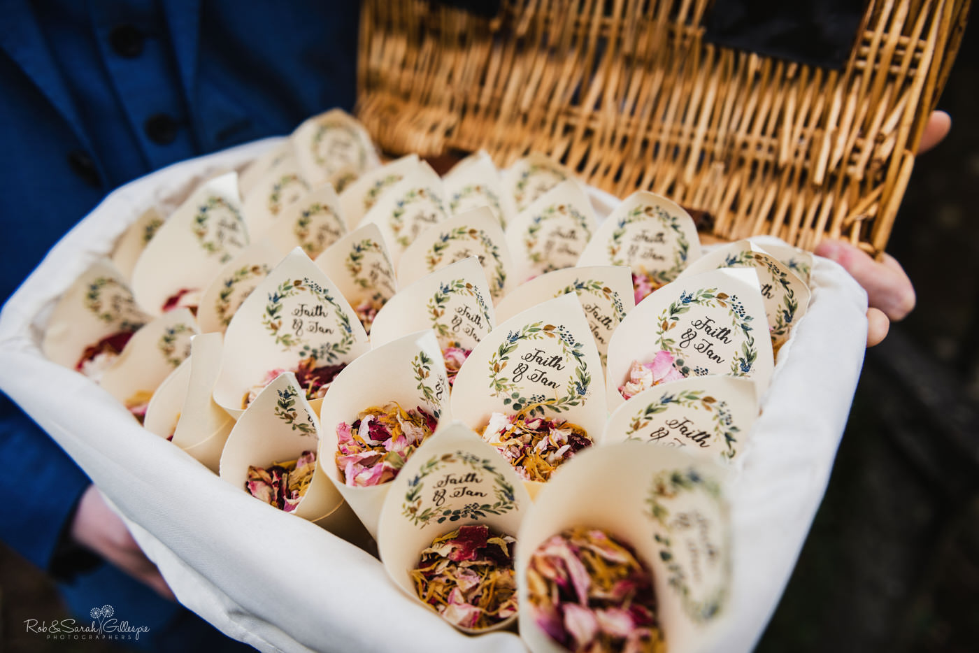 Wedding confetti at St Kenelm's church in Worcestershire