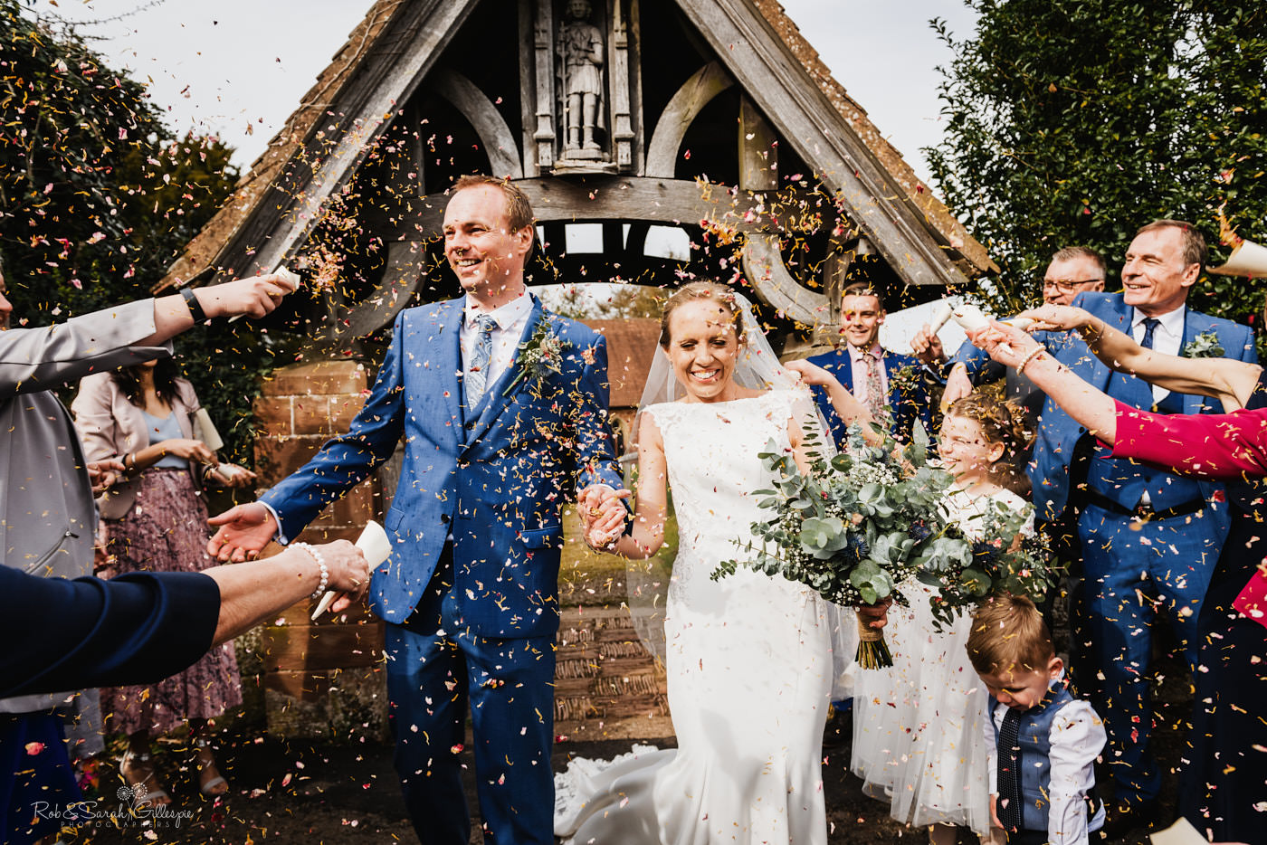 Wedding confetti throw at St Kenelm's church Worcestershire