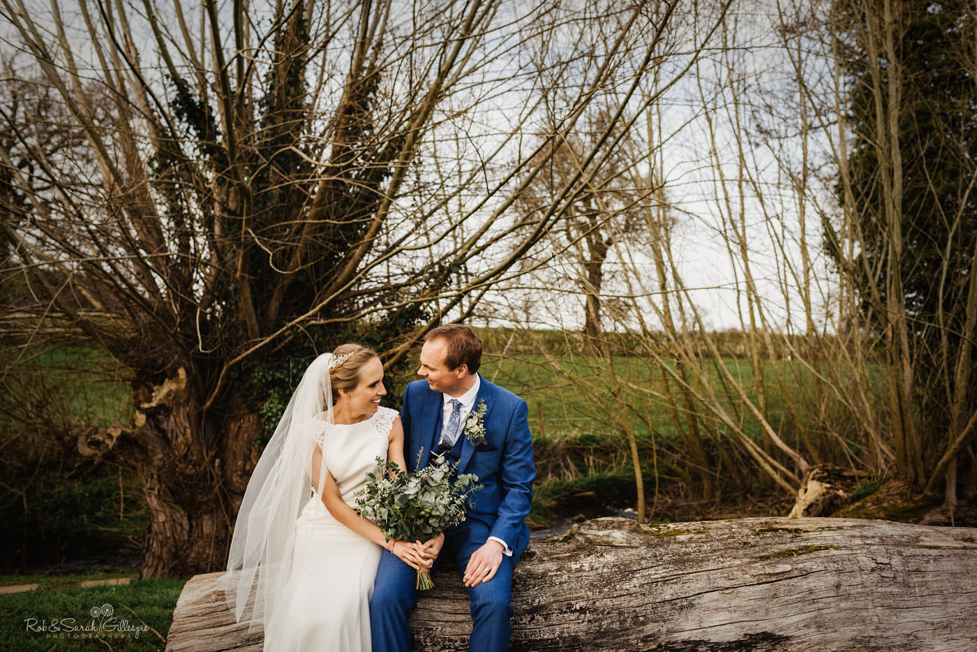 Bride and groom together at Swallows Nest Barn in Warwickshire