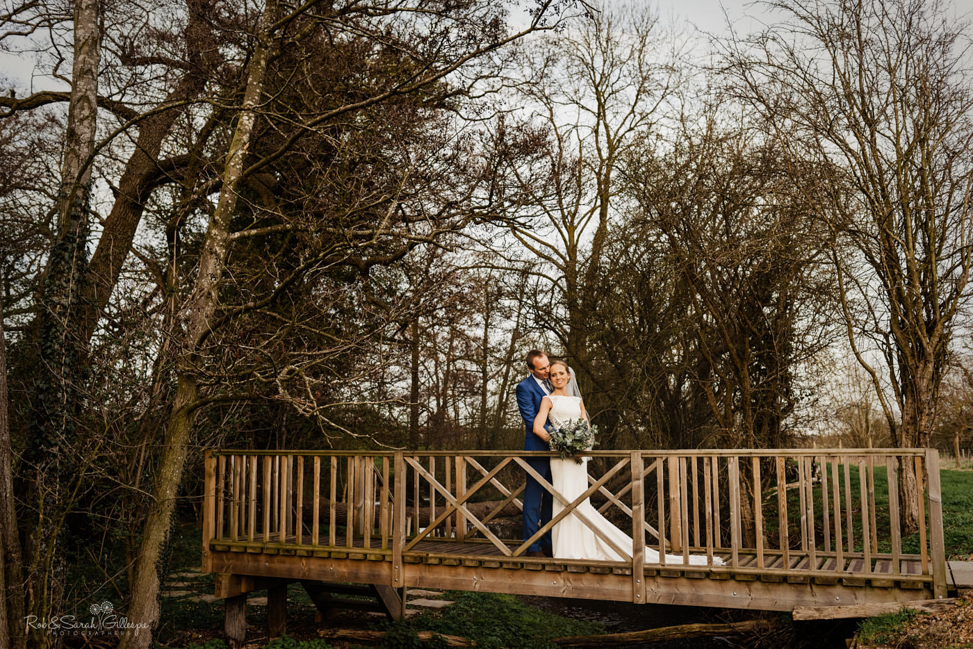 Bride and groom couple photos at Swallows Nest Barn in Warwickshire