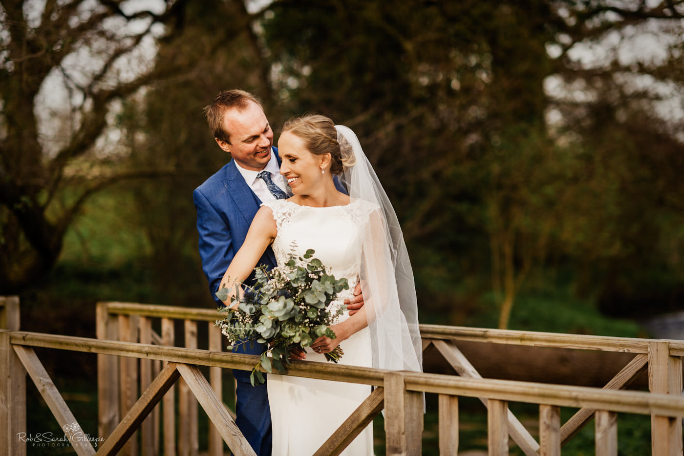 Bride and groom at Swallows Nest Barn wedding