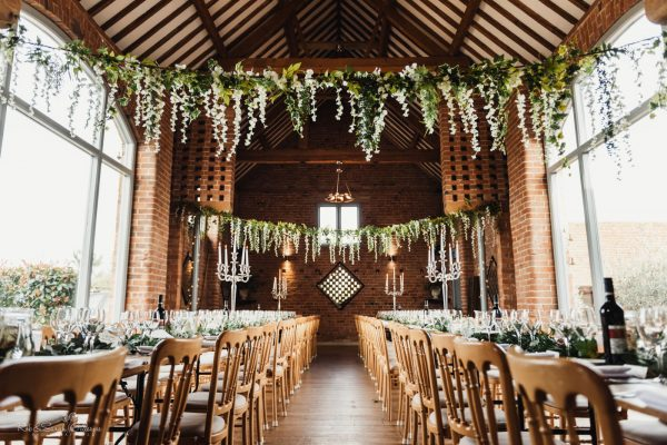 Swallows Nest Barn set up for wedding meal