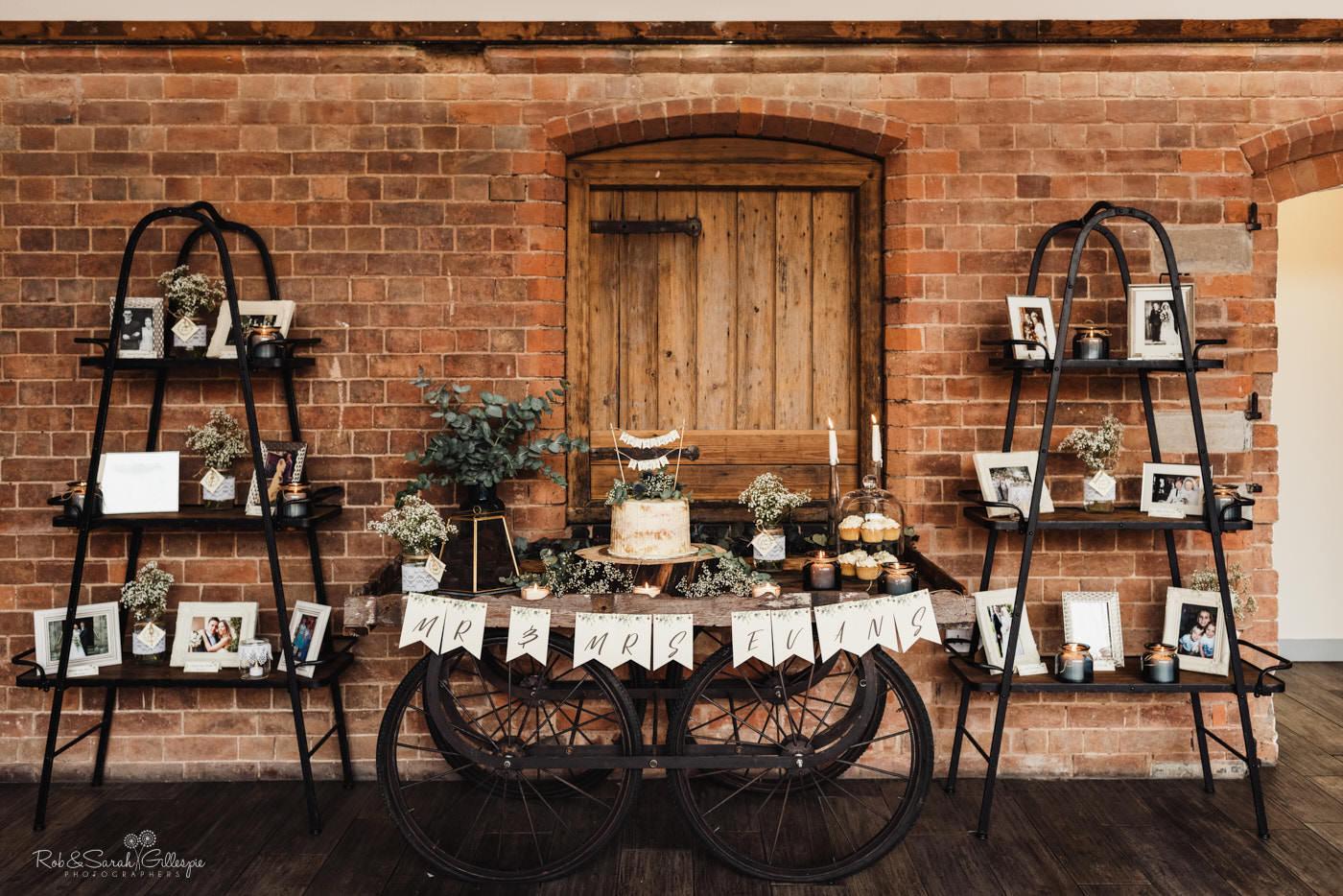 Wedding cake at Swallows Nest Barn in Warwickshire
