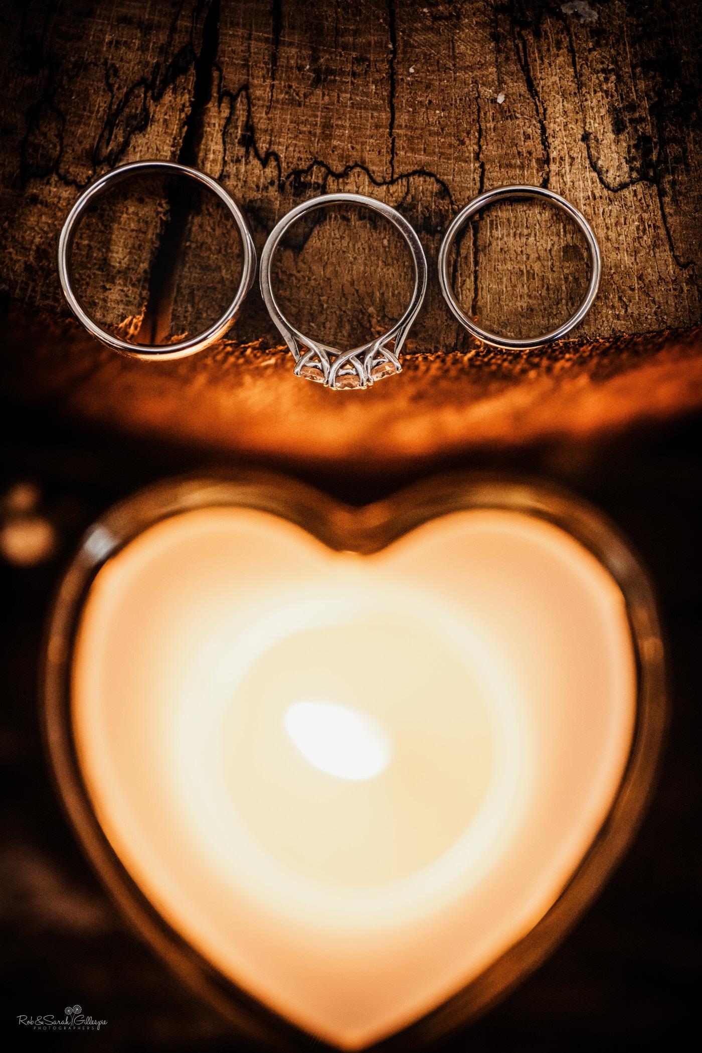 Wedding rings detail at Swallows Nest Barn