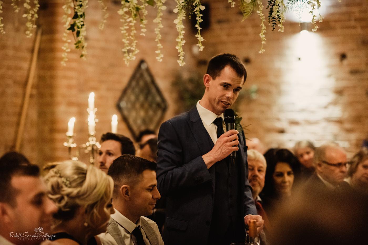 Speeches at Swallows Nest Barn wedding