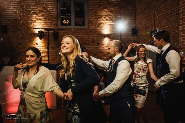 Wedding dancing at Swallows Nest Barn