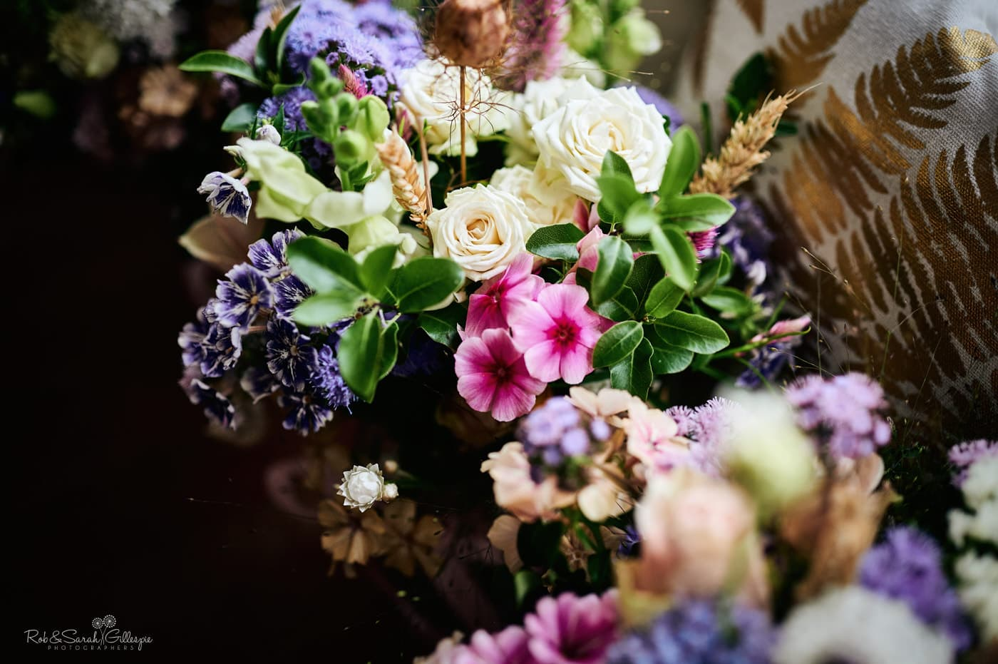 Colourful wedding flowers in beautiful light