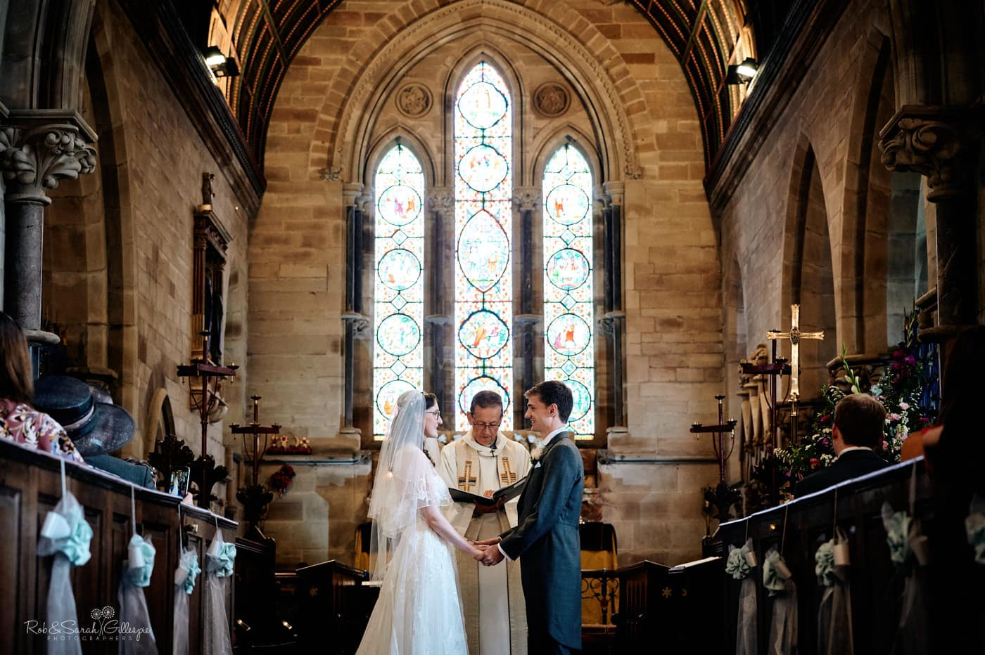 Wedding ceremony at Hanbury Church