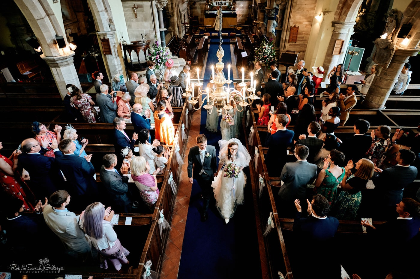 Bride and groom at Hanbury Church wedding ceremony