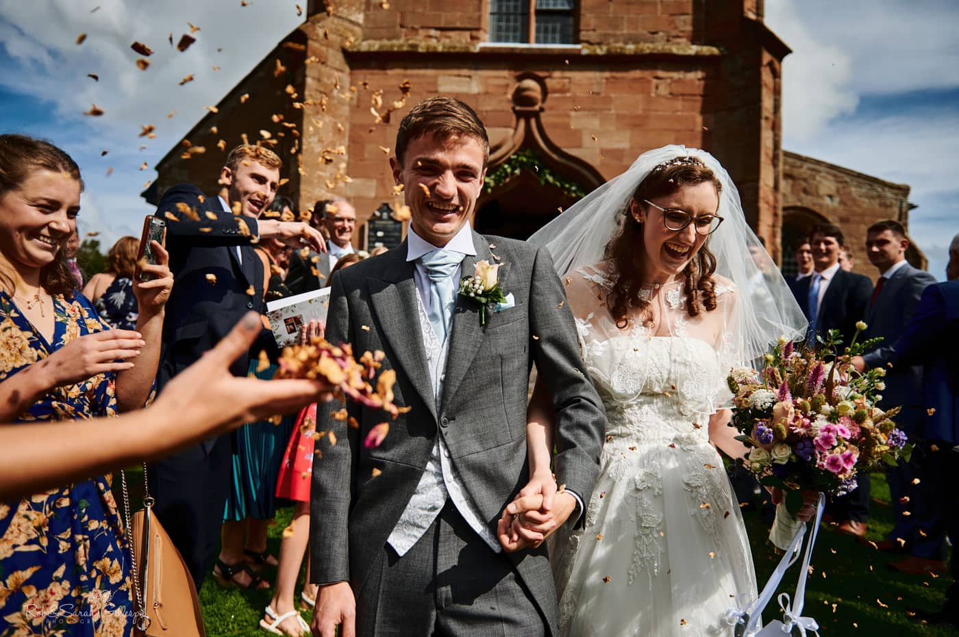 Confetti throw at Hanbury wedding