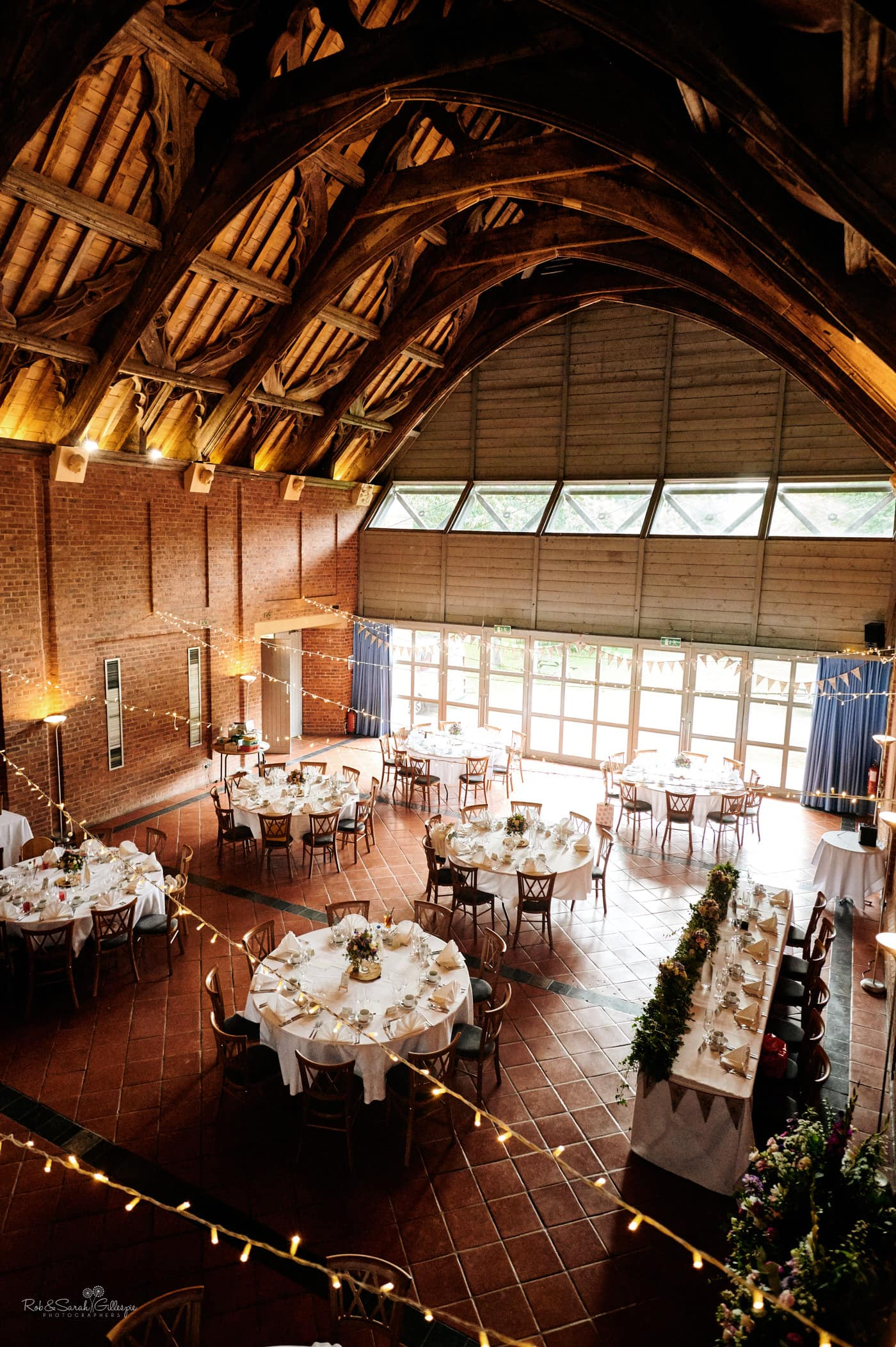Inside Guest Hall at Avoncroft Museum wedding, set up ready for wedding breakfast