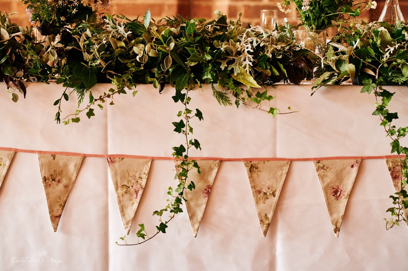 Wedding flowers and bunting