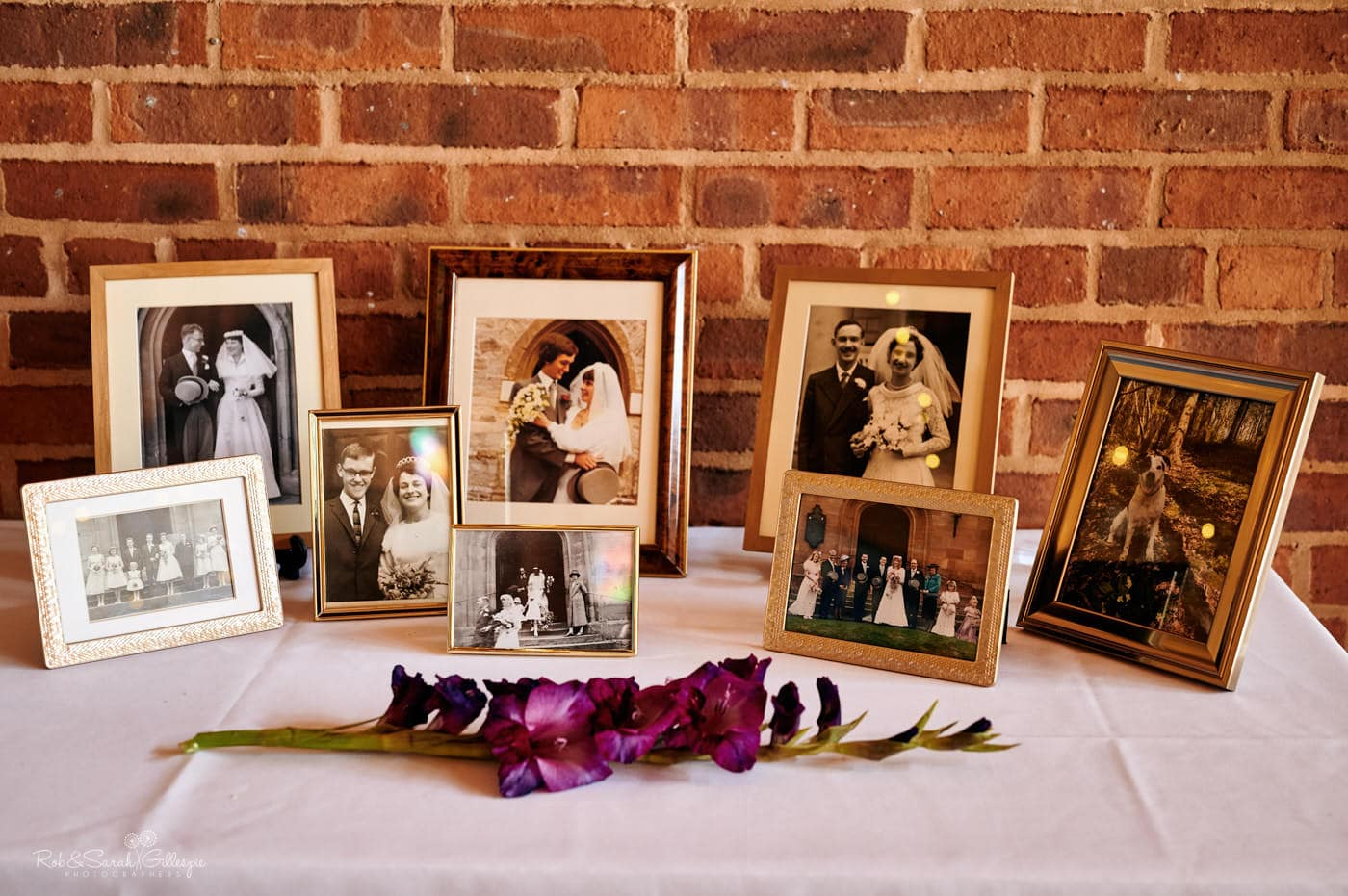 Old wedding photos set up on table