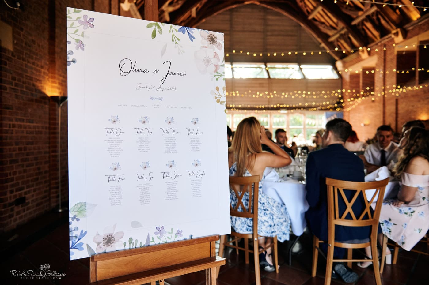 Wedding table plan with guests seated ready for meal