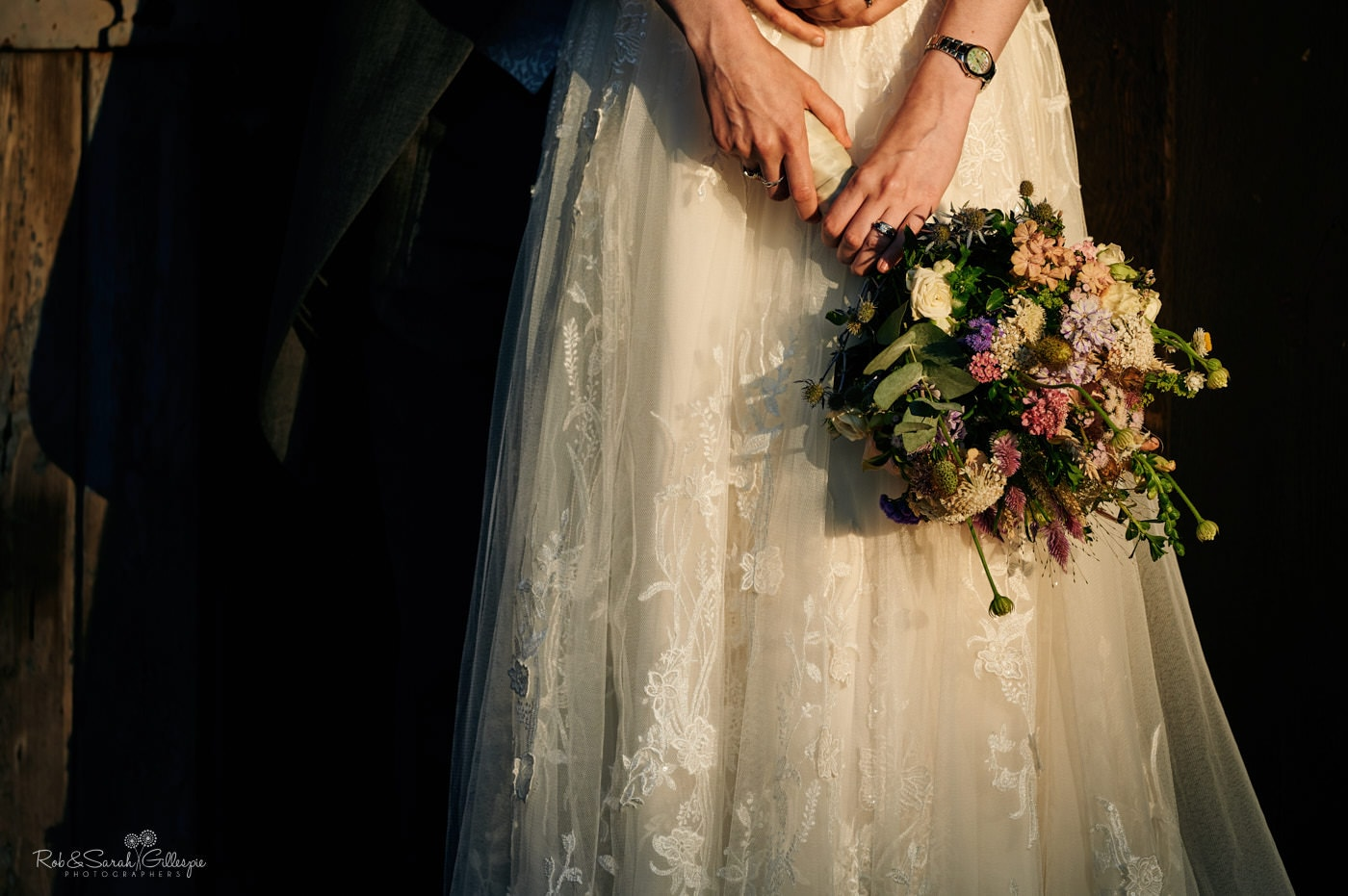 Detail of bride's bouquet in beautiful evening light