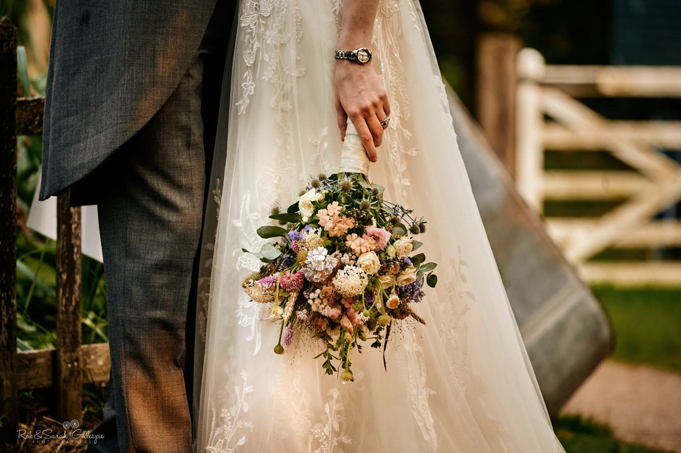 Detail of wedding bouquet. Avoncroft Museum wedding photographers Rob & Sarah Gillespie