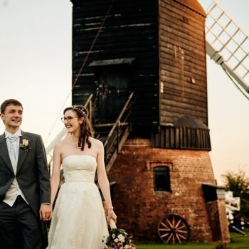 Bride and groom at Avoncroft Museum weddiong