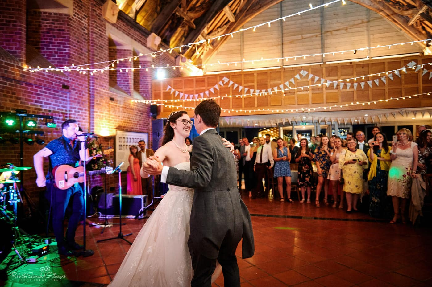 Bride and groom first dance at Avoncroft Museum in Worcestershire