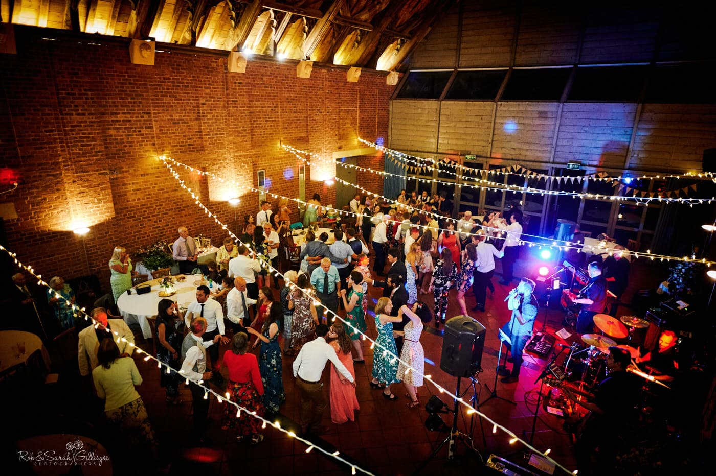Avoncroft Museum evening wedding reception with guests dancing to live band