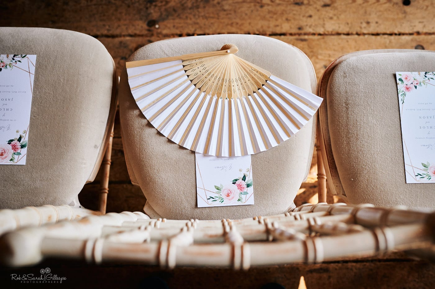 Paper fan on chair
