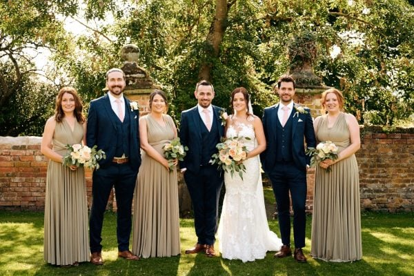 Wedding group photo at Gorcott Hall
