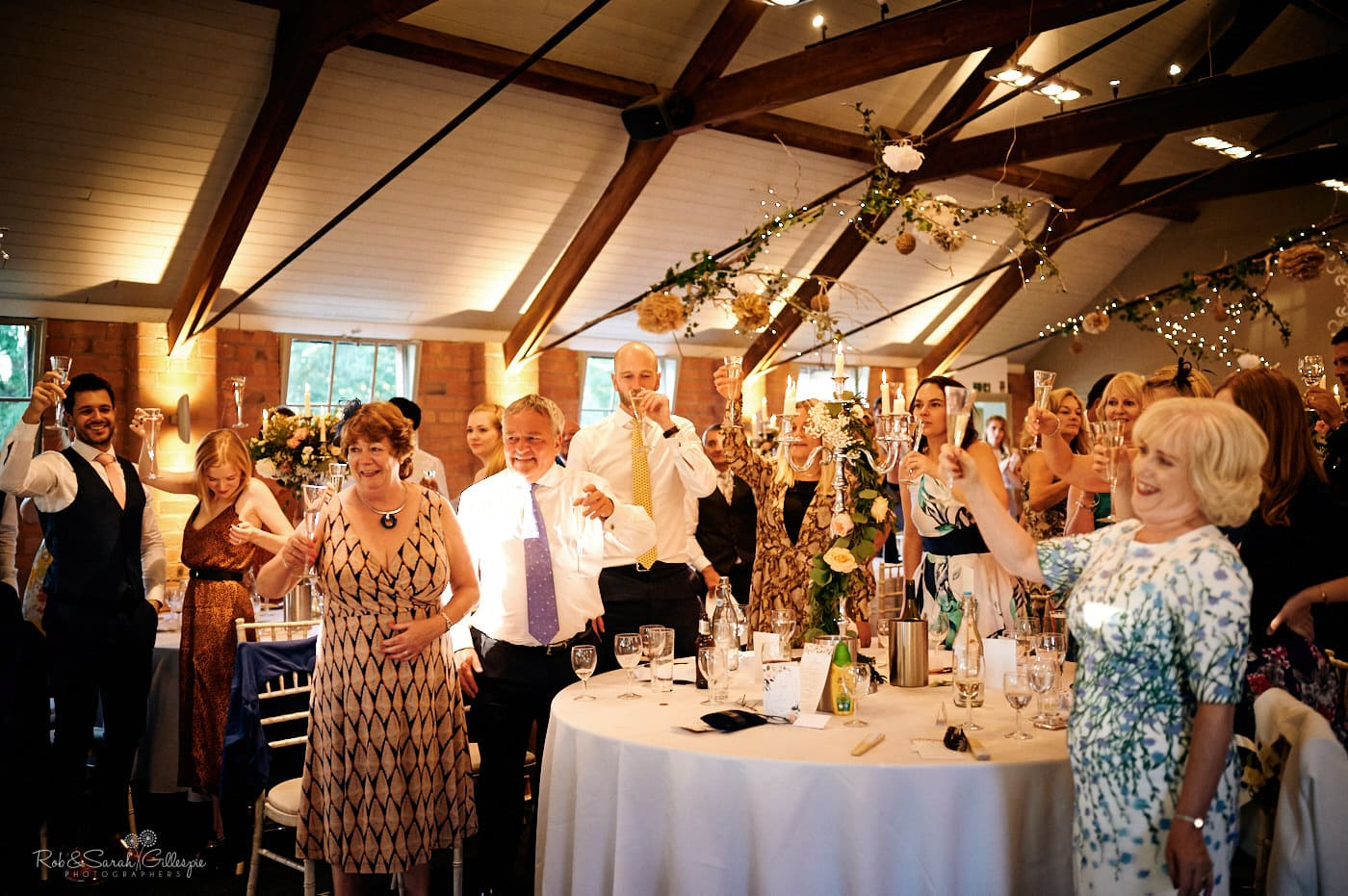 Wedding guests raise toast during speeches
