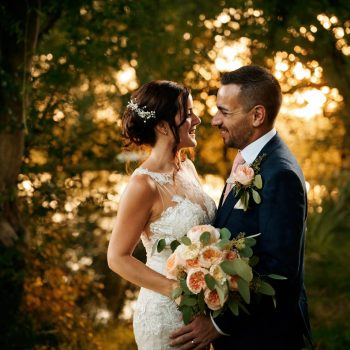Newly married couple in gardens at Gorcott Hall