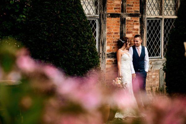 Bride and groom together at wedding