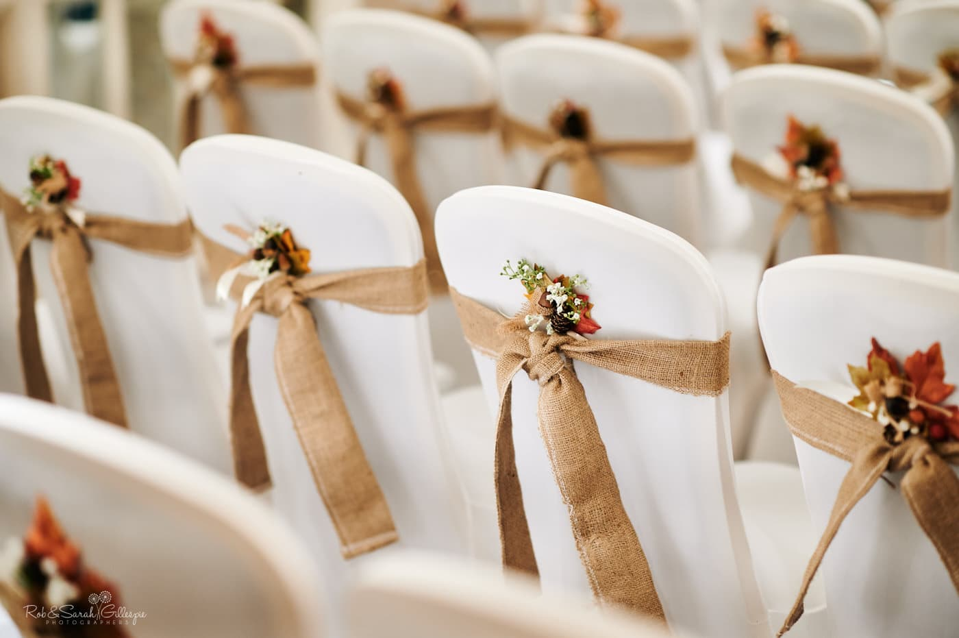 Detail of hessian tie-backs on chairs for wedding at Moor Hall Hotel