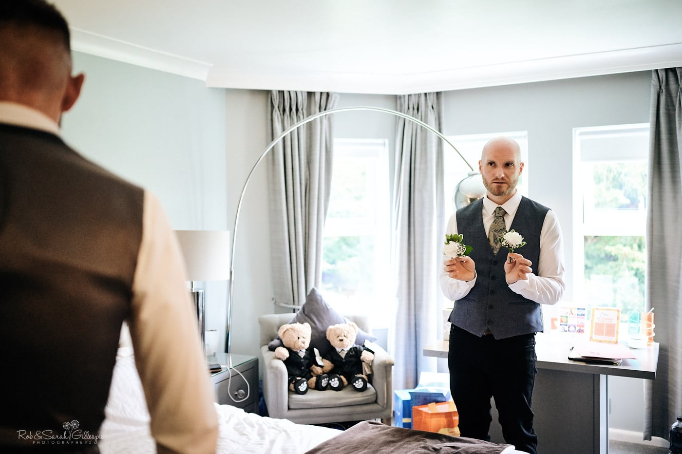 Two grooms prepare for wedding at Moor Hall Hotel