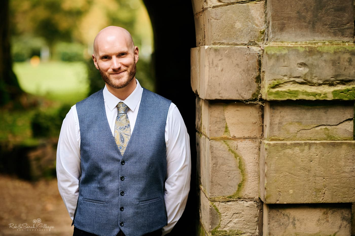 Portrait of groom at Moor Hall Hotel