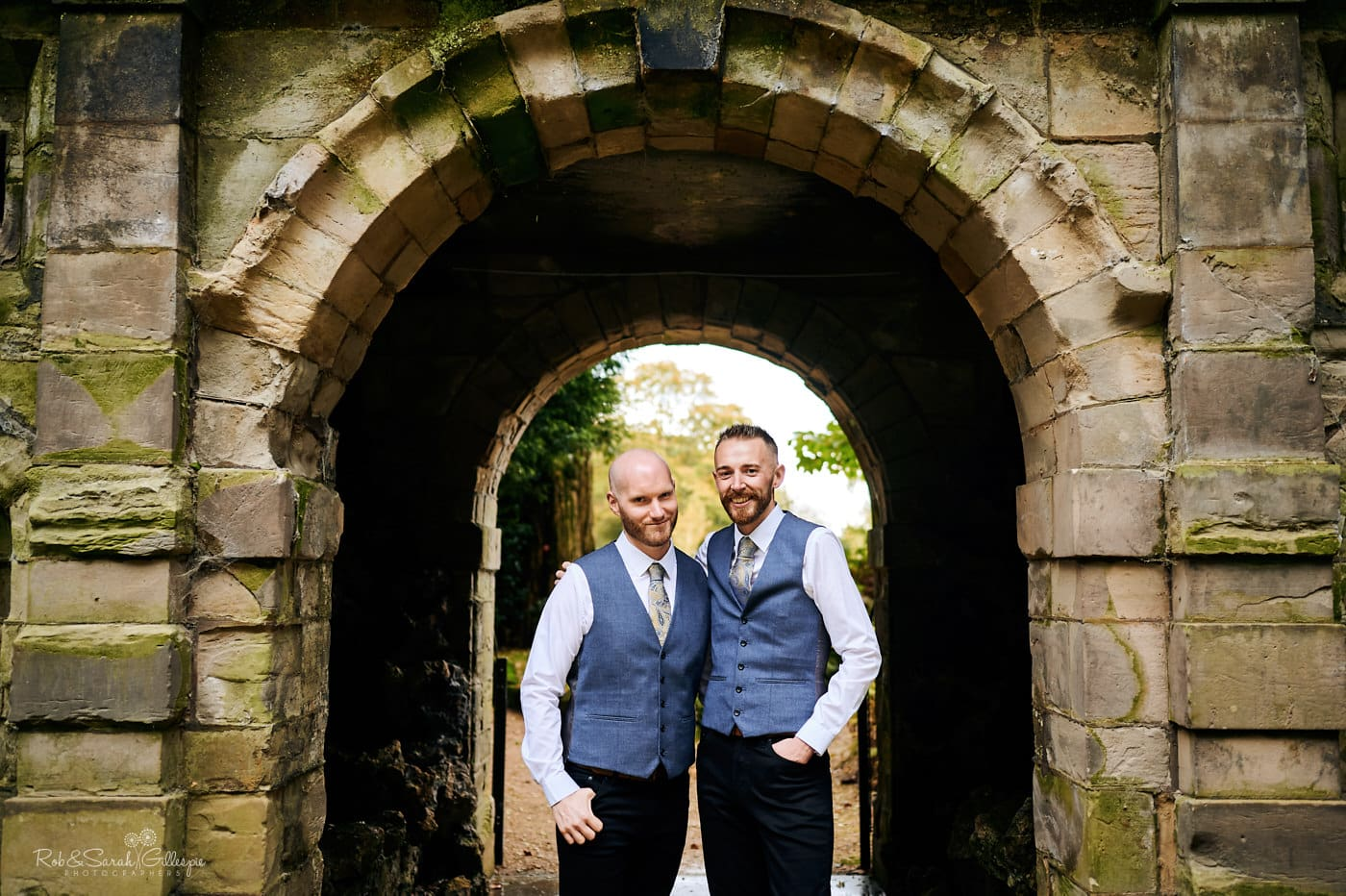 Portrait of two grooms at Moor Hall Hotel