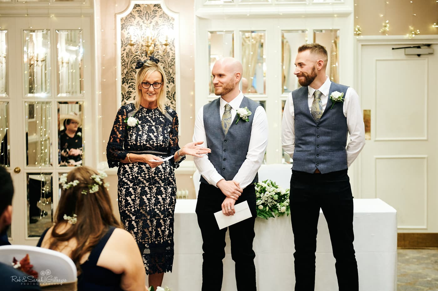 Groom's mum gives reading during wedding ceremony