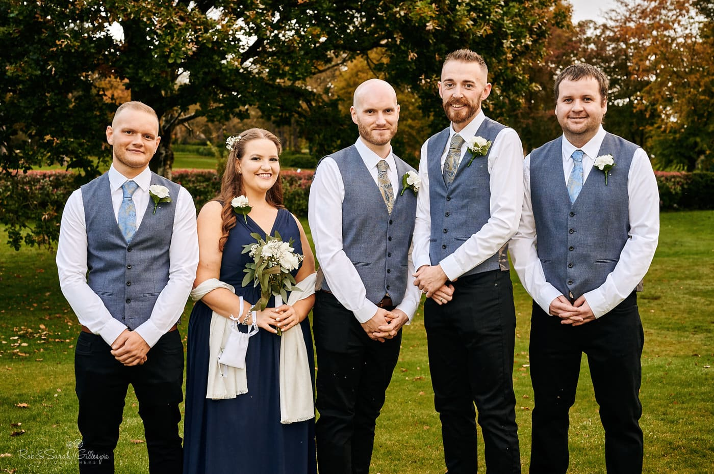 Family group photo at Moor Hall Hotel wedding