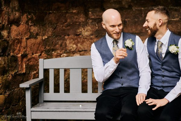 Two grooms at Moor Hall Hotel wedding