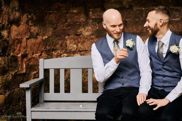 Two grooms at Moor Hall Hotel wedding