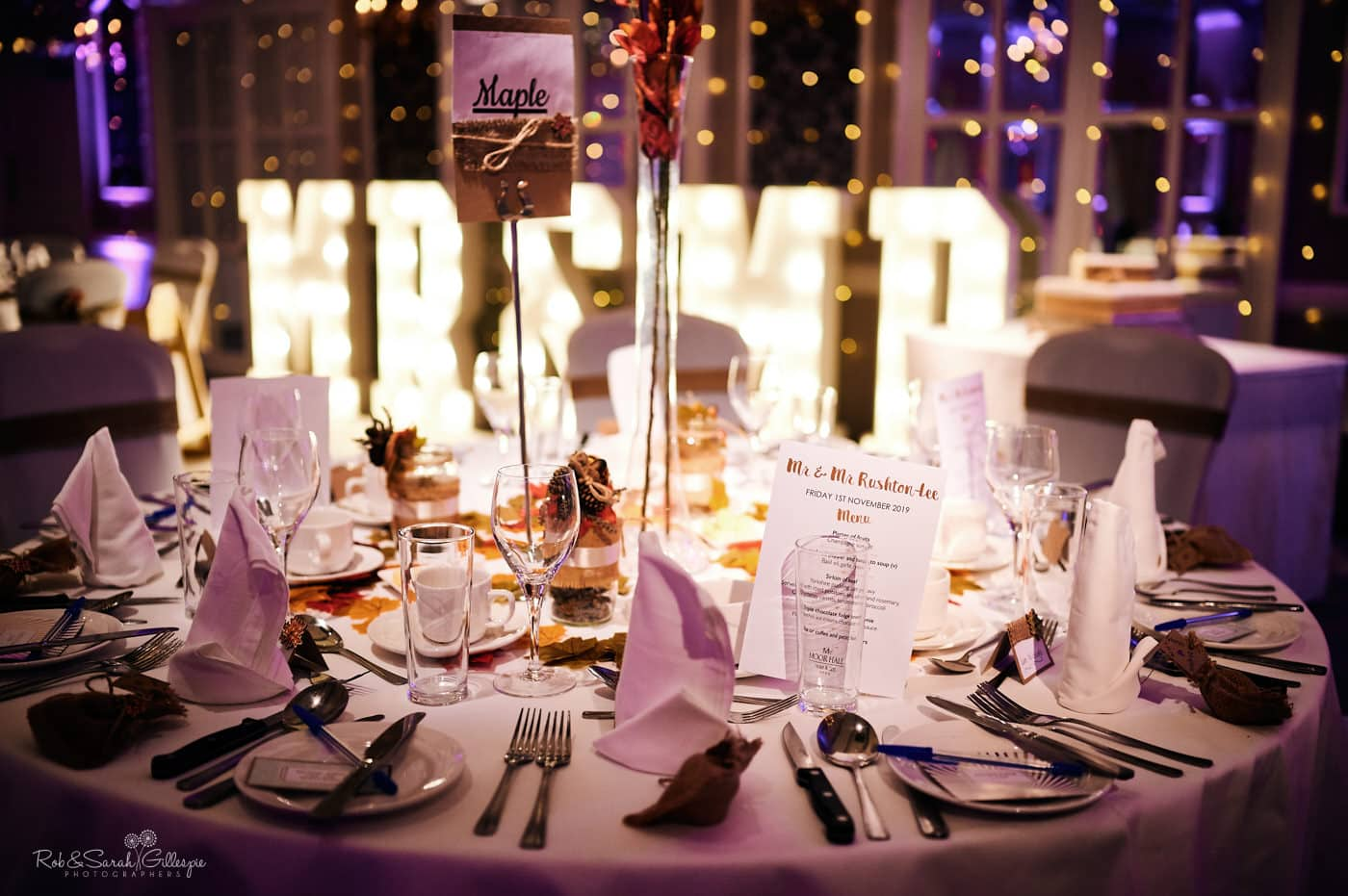Table details at Moor Hall Hotel wedding reception