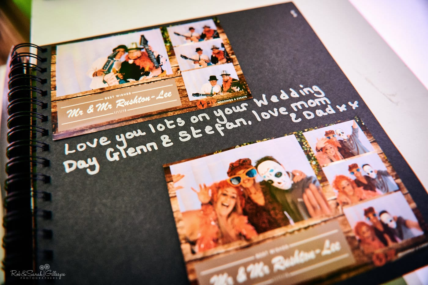 Detail of wedding signing book