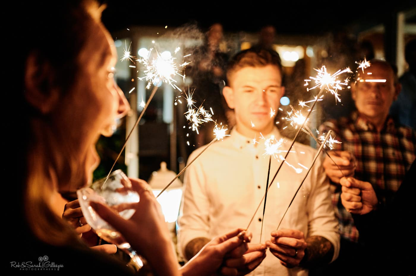 Sparklers at Moor Hall Hotel wedding