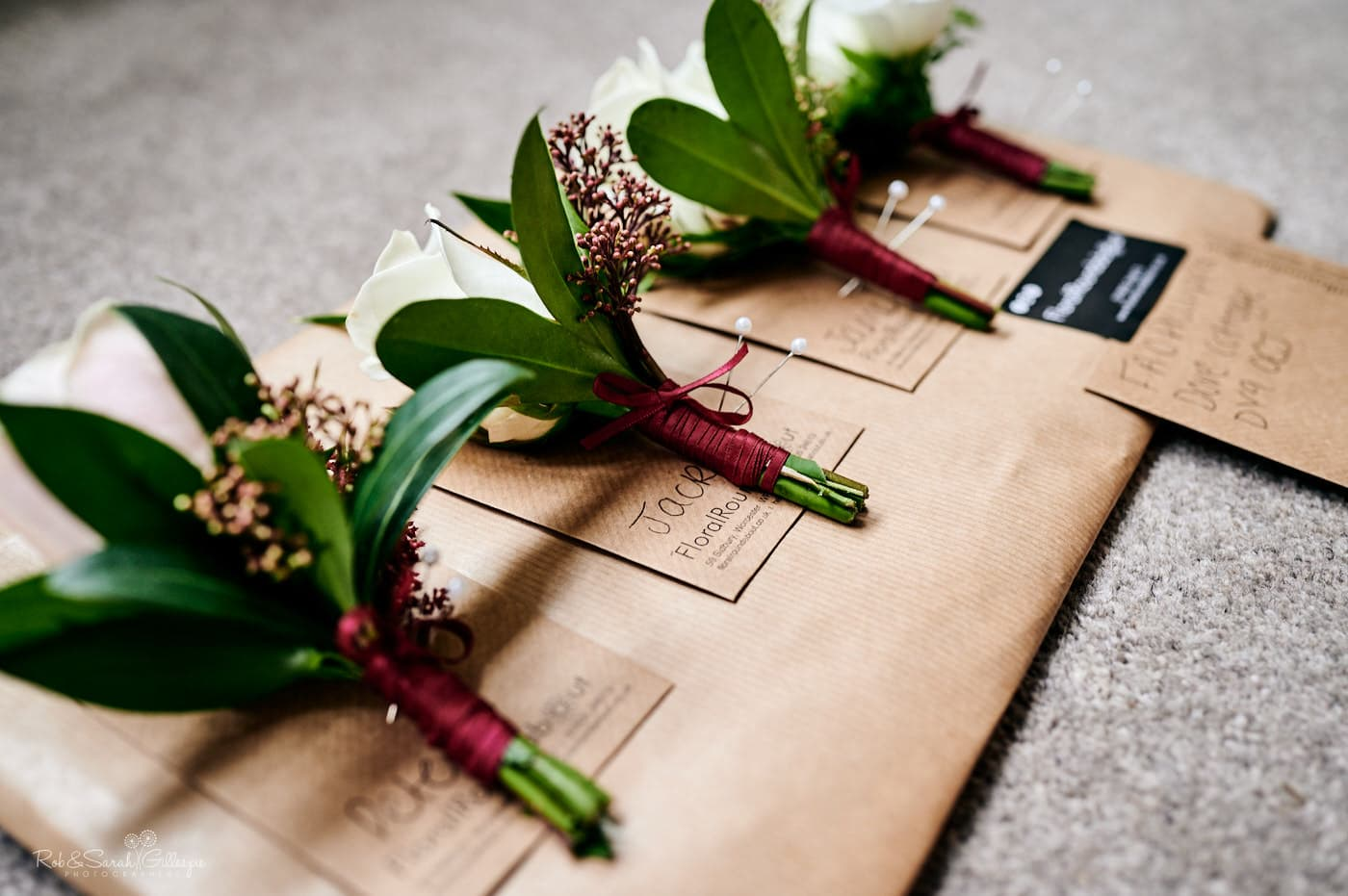 Buttonhole flowers on board