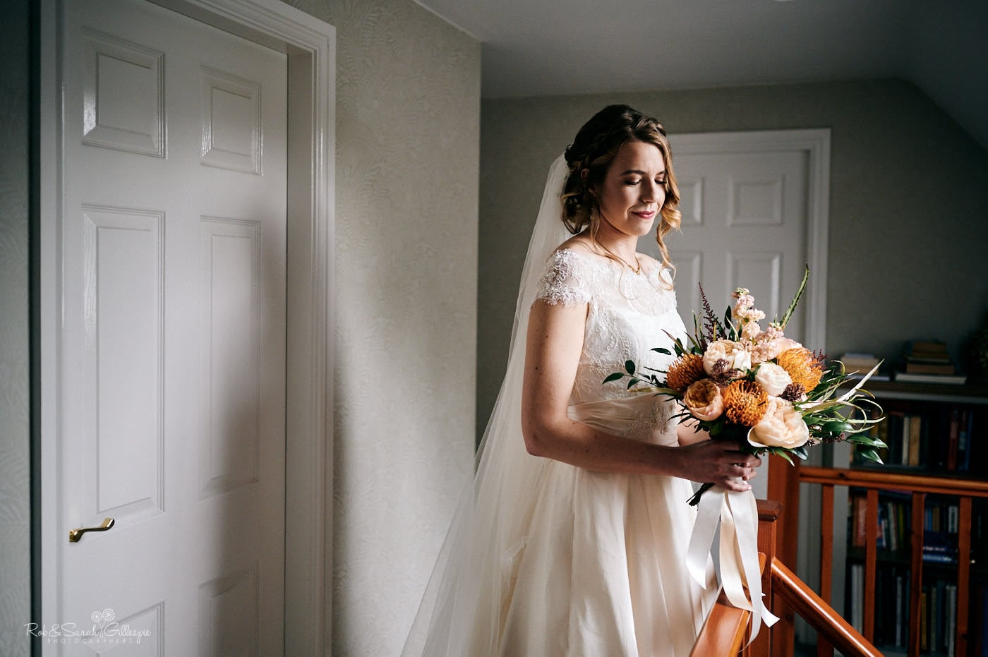 Portrait of bride in beautiful light with bouquet