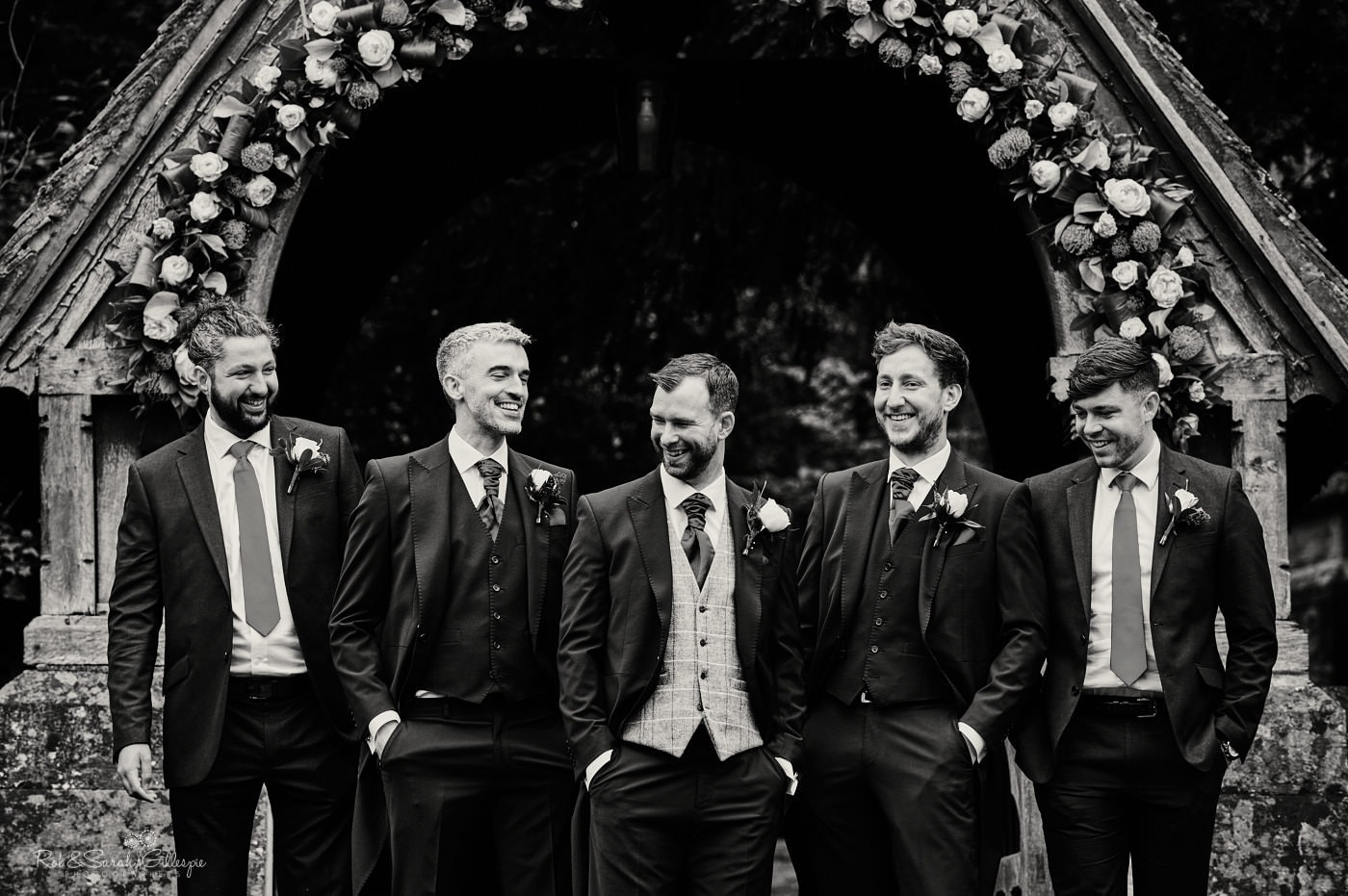 Group photo of groomsmen at St Peter's Pedmore wedding